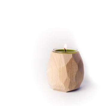 W/S Geometric tea light candle holder, Maple Hardwood Faceted