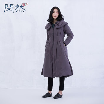 XianRan Women Down Coat Long Loose Casual Slim Waist Hat Cotton Casual Winter Coat Plus Size Free Shipping