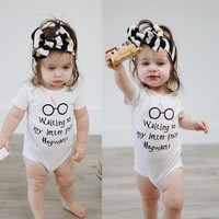 Harry Potter Bodysuit Cute Newborn Baby Boy Girl Letter Bodysuit Cute Funny Playsuit Outfits Clothes