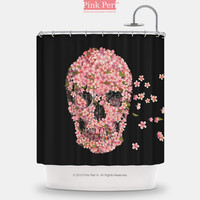 The Cherry Blossom Skulls Cartoon Bar Fight Reincarnate Shower Curtain 034