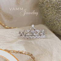 Princess Crown Ring (Sterling Silver/White Gold Plated)BACKORDER