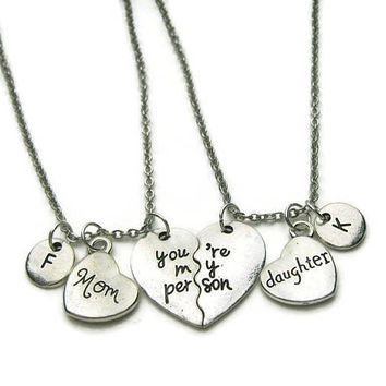2 Mom And Daughter Necklaces, You're My Person Necklaces, Mom Daughter Necklaces, Mother Daughter Necklaces ,Personalized