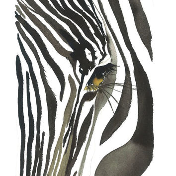 Zebra Eye, print from original watercolor zebra illustration by Jessica Durrant