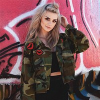 Hot Deal Sports On Sale Jacket Women's Fashion Star Camouflage Casual Baseball [83829030927]