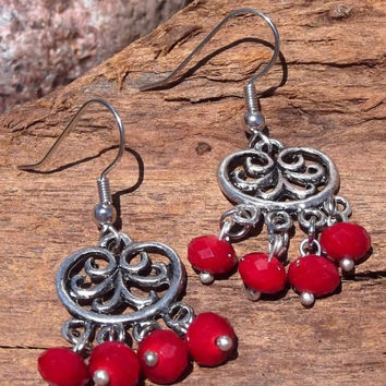 ON SALE Drops of Crimson - Silver and Crystal Dangling Filigree Earrings- Red Dangling Earrings, Dangling Earrings, Crystal Earrings, Red Ea