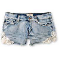 Lost Shine On Indigo & Lace Cut Off Shorts