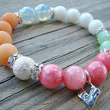 Beaded Stretch Bracelet, Gemstone Stacking Bracelet, Glass Bead Bracelet, Charm Bracelet, Bracelet Stretch, Summer Bracelet, White, Elastic