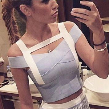 2017 elastic sexy bandage tank top patchwork sheath tight hollow out fashion women top rayon drop shipping HL539