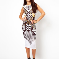 ASOS Foil Print Bodycon Midi Dress - White