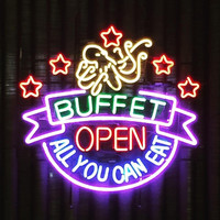 Buffet Open All You Can Eat Neon Sign Real Neon Light
