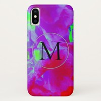 Monogram Purple Watercolor Marble Phone Case