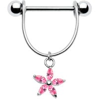 Handcrafted Pink Cubic Zirconia Lilly Nipple Ring | Body Candy Body Jewelry