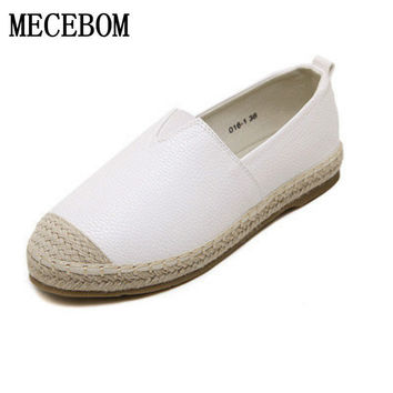 2017 Loafers shoes Women slip on Flats Solid spring Summer ladies round toe white shoe Plus Size footwear Y161W