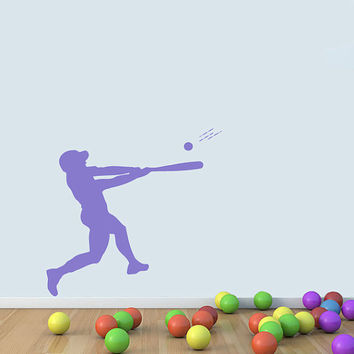 Guy Baseball Player With Ball Sportsman Vinyl Decal Wall Sticker Art Design Child Kids Room Modern Bedroom Nice Picture Home Decor Hall ki40