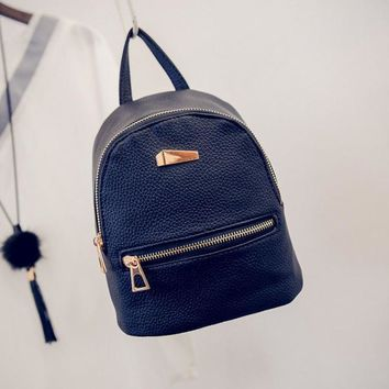 2016 Women's Backpack Travel bag fashion samll double bags womens leather backpack women school bag ladies Casual style Rucksack