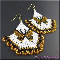 Monarch Butterfly Beadwork Dangle Seed Bead Earrings