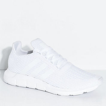 adidas Swift Run All White Shoes | Zumiez