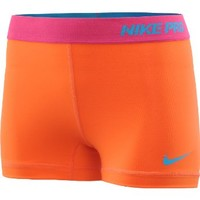 "NIKE Women's Pro II 2.5"" Shorts - Size: Large, Electro Orange/turquoise"