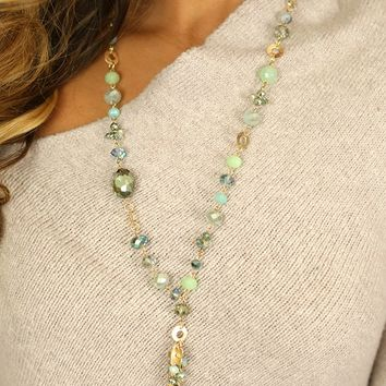 You Cry I Cry Necklace in Mint