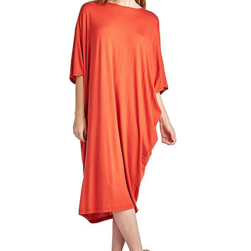 82 Days Women'S Rayon Span Kimono Loose Fit Mid Long Jersey Dress - Solid