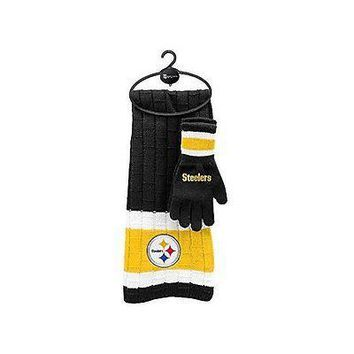 NFL Pittsburgh Steelers Scarf & Gloves Gift Set, One Size, Black
