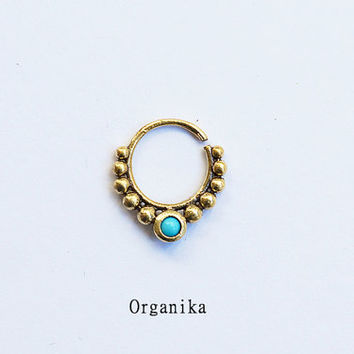 Brass Septum 1.2mm (16g) - For pierced nose - Italian Brass and turquoise