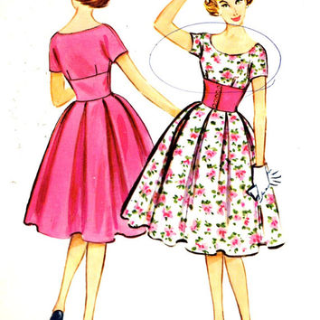 50s Rockabilly dress grad bridesmaid dress Vintage sewing pattern McCalls 4927 Bust 36 Uncut