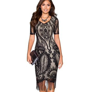 V-Neck Floral Lace Tassel Hollow Out Stretchable Bodycon Pencil Dress