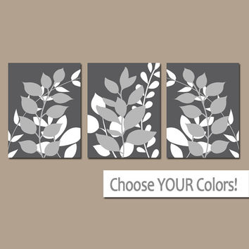 LEAVES Wall Art, Bedroom Pictures, Charcoal Gray CANVAS or Prints Leaf Bathroom Artwork, Foliage Pictures, Flower Art, Set of 3 Home Decor