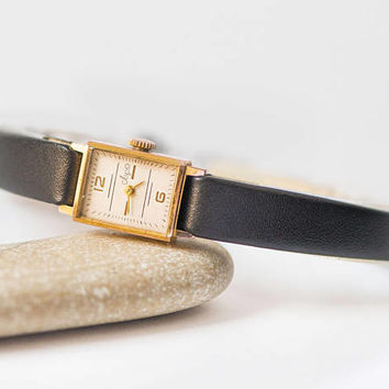 Rectangle women's watch Ray, gold plated lady watch vintage, limited edition classic girl watch, minimalist watch, new premium leather strap