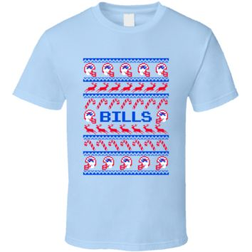 Bills Football Ugly Christmas Sweater T Shirt - Buffalo Bills Team Colors