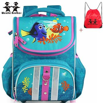 wenjie brother orthopedic good quality fish creative school bag waterproof backpack schoolbag kids backpack for boys and girls