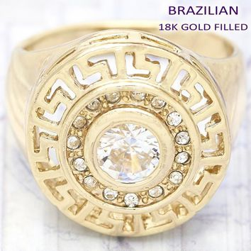 Gold Layered Women Greek Key Multi Stone Ring, with Violet Crystal, by Folks Jewelry