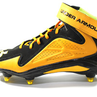 Under Armour Men's Micro G Renegade Mid D Black Yellow Football Cleats