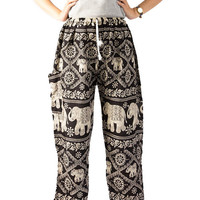 Bangkok Harem Pants Festival Wear Comfortable Trousers Smock waist Thailand Hippie Elephant Pants Hippie clothes Genie Pants Drop Trouser