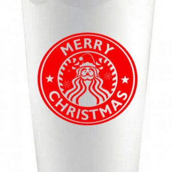 Christmas Santa Custom Ceramic Reusable Coffee Cup - Personalized Coffee Cup - Santa Claus Coffee Cup - Santa Travel Mug - Christmas Gift