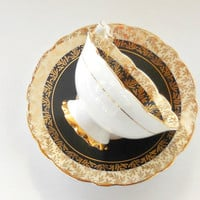 Vintage 1950's Royal Stafford Ornate Tea Cup and Saucer, Black & Gold Chintz, Tea Parties, Tea Cup Set, English Bone China, 8226