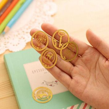 DCCKL72 (1Pcs/Sell) Senior Gold Plated Christmas Gift Metal Bookmarks Delicate For Book Creative Item Kids Gift Korean Stationery New