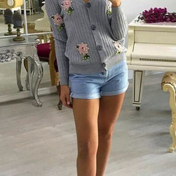 New Women Grey Flowers Embroidery Beading Single Breasted V-neck Casual Cardigan Sweater