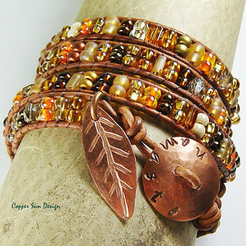 Namaste Beaded Leather Wrap Bracelet with Hand Stamped Copper Button and Rustic Leaf, Boho Yoga jewelry