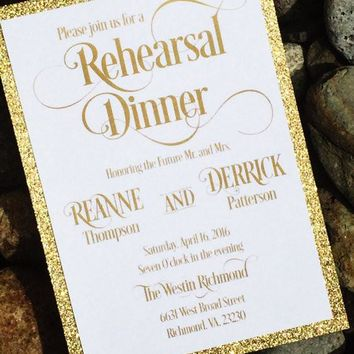 Rehearsal Dinner Invitation - Glitter Engagement Party Invitations