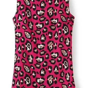Rose-Carmine Leopard Print Sleeveless Polyester Dress