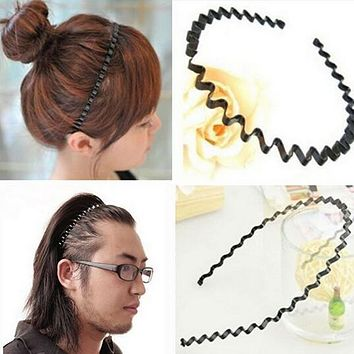 1 pc Fashion Mens Women Unisex Black Wavy Hair Head Hoop Band Sport Headband Hairband hair accessories A171-2