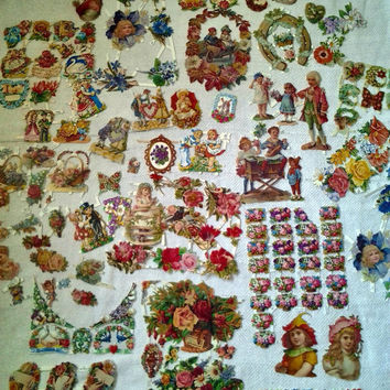Vintage Victorian Scraps Huge Lot Scrap Papers German West Germany Roses Children Animals Christmas Santa Claus Shabby Chic Scrapbooking
