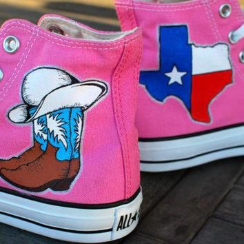 ONETOW Texas Cowboy Boots Cowgirl theme Converse Chuck Taylor Hi Tops - Pink Canvas - customi