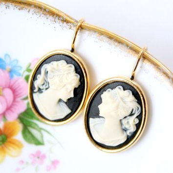 Black Cameo Earrings by tamar on Etsy