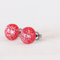 Hot Pink Sparkle Post Earrings - Hypoallergenic Studs