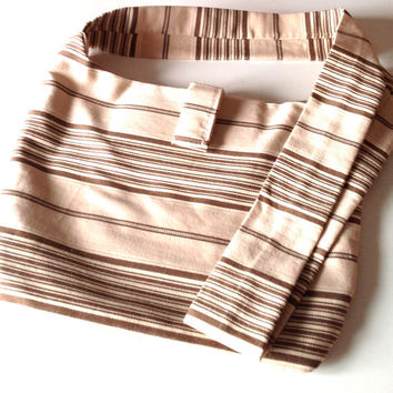 CrossBody Hobo Sling Bag in Striped Biege and Brown - Boho Everyday Bag