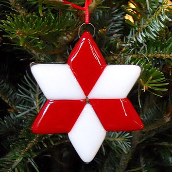 Red and White Star Christmas Ornament, Handmade Fused Glass, 3.5 Inch