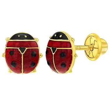 9865260f5 14k Yellow Gold Red Enamel Ladybug Safety Screw Back Earrings To